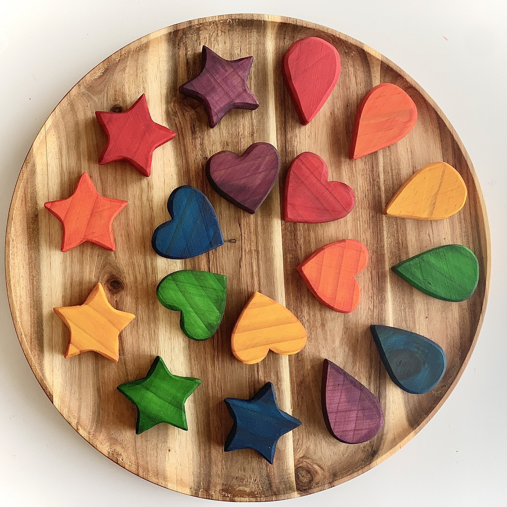 Rata and Roo 18 Wooden Rainbow Shapes