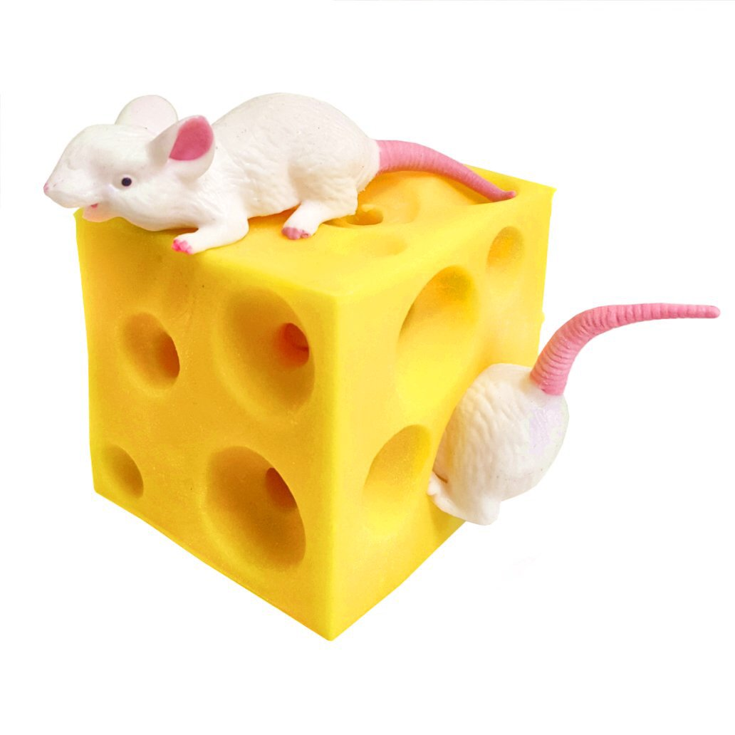 Stretchy Cheese and Mice fidget toy