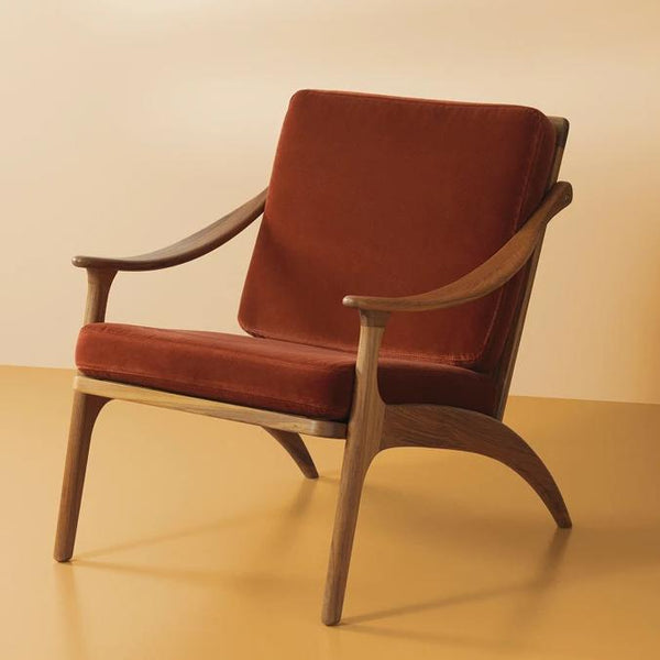 Lean Back Chair Teak | Brick Red Velvet