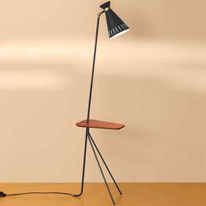 Cone Floor Lamp with Table Black