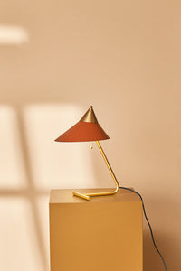 Brass Top Table Lamp Rusty Red