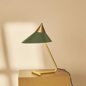 Brass Top Table Lamp Pine Green