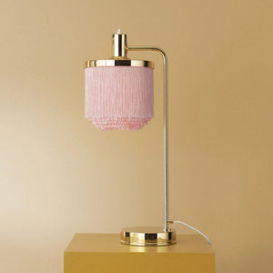 Fringe Table Lamp Pale Pink
