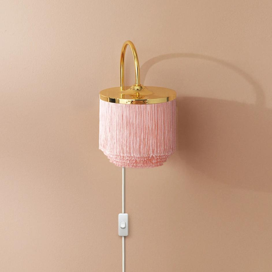 Fringe Wall Lamp Pale Pink