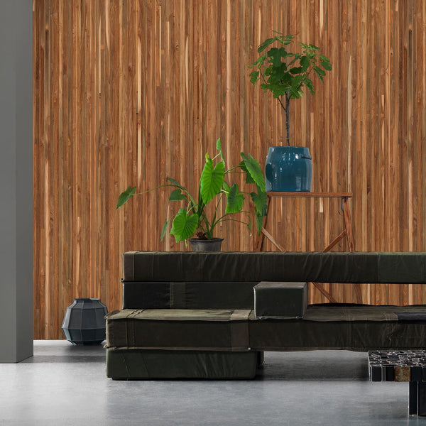 Teak Timber Strips Wallpaper