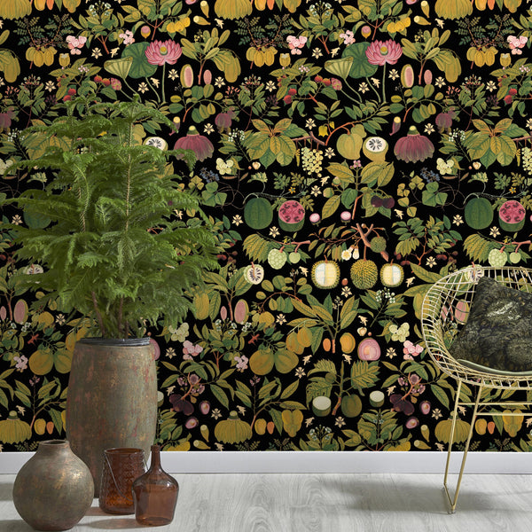 Asian Fruits & Flowers Anthracite Wallpaper