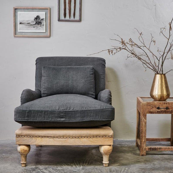 Abe Linen Armchair | Charcoal