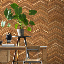 Load image into Gallery viewer, Chevron Teak Timber Wallpaper