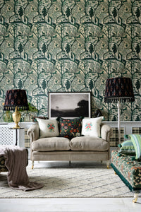 Enchanted Woodland Green Wallpaper