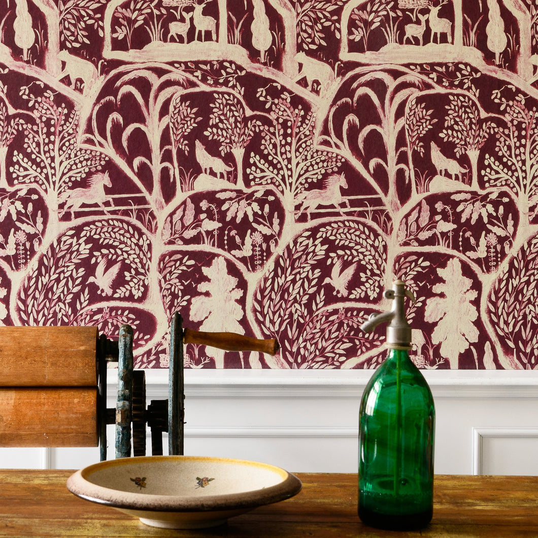 Enchanted Woodland Red Wallpaper