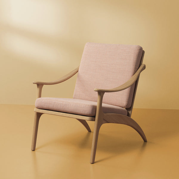 Lean Back Chair White Oiled Oak | Pale Rose