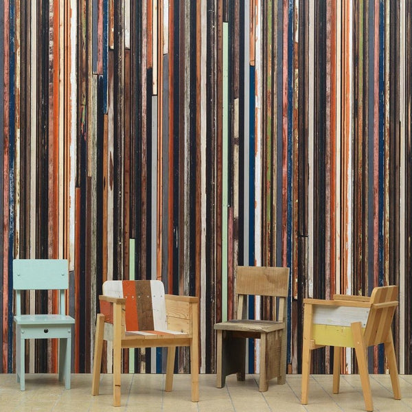 Scrapwood Coloured Sides Wallpaper