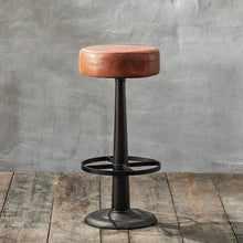 Load image into Gallery viewer, Narwana Leather Round Bar Stool
