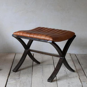 Narwana Ribbed Leather Foot Stool