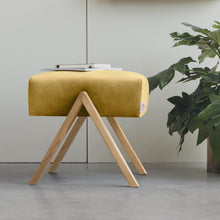 Load image into Gallery viewer, Retrostar Velvet Footstool | Amber