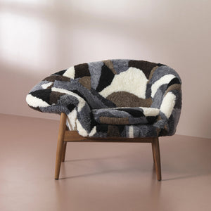 Fried Egg Lounge Chair Sheepskin Patchwork
