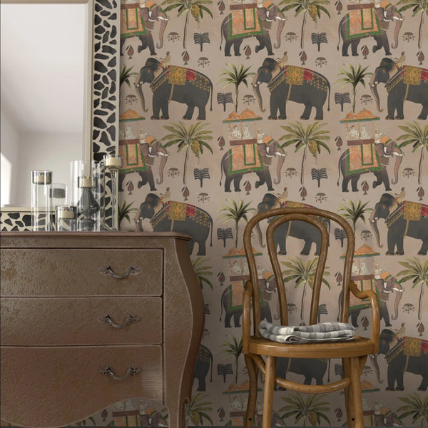 The Procession Taupe Wallpaper