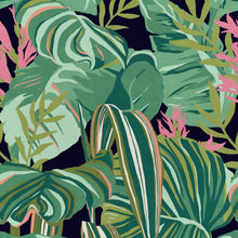 Load image into Gallery viewer, Tropical Foliage Anthracite Wallpaper