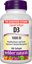 Load image into Gallery viewer, Vitamin D3 1000 IU Webber Naturals 180 Softgels