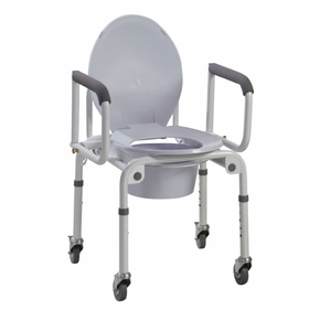 Drive Medical Steel Drop-Arm Commode with Wheels and Padded Armrests