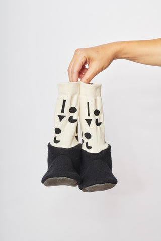 UPCYCLE COLLECTION BOOTIES - BLACK with CREAM SLEEVE