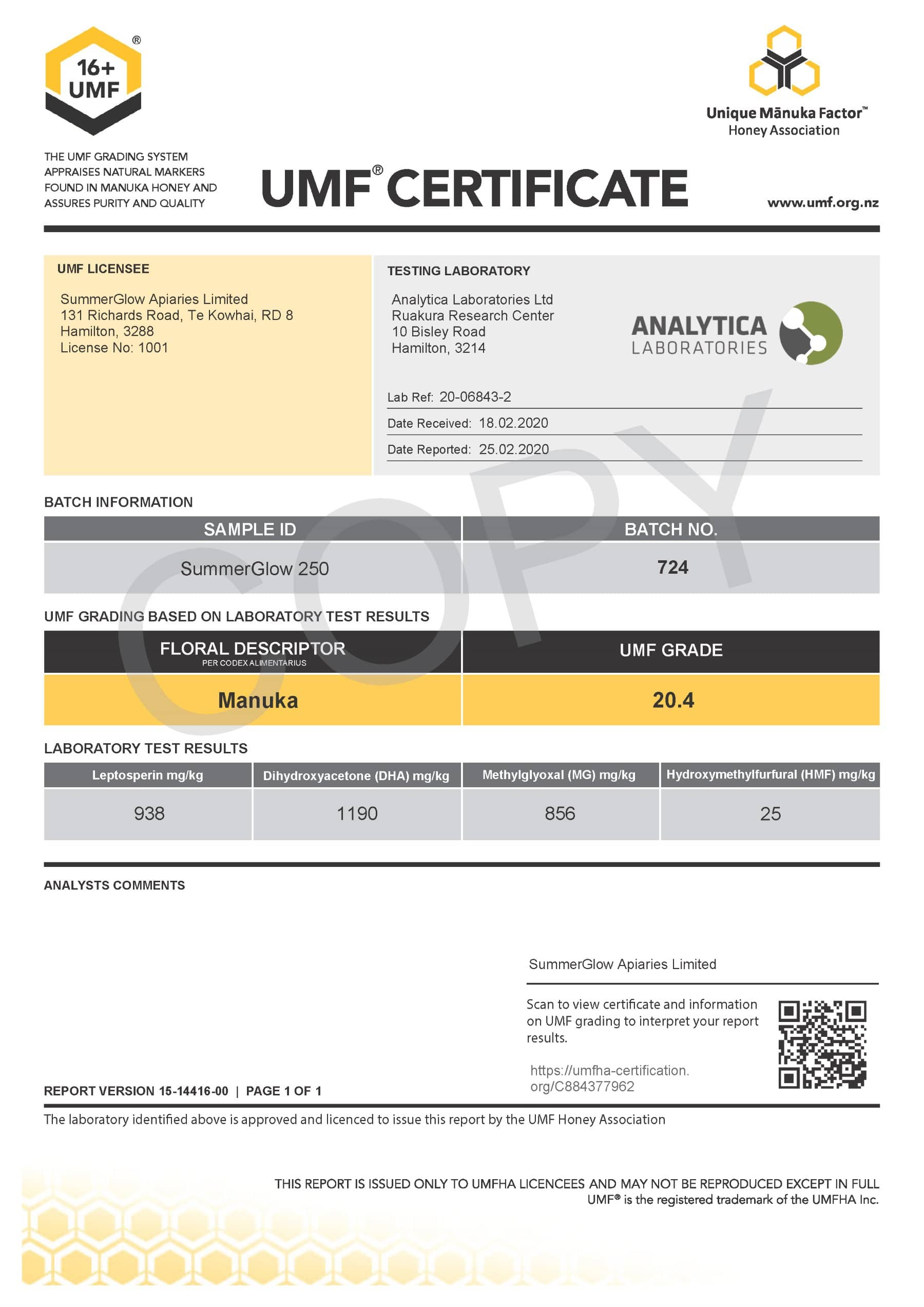 Click to view PDF of the UMF Certificate for Summerglow UMF16+ Manuka Honey