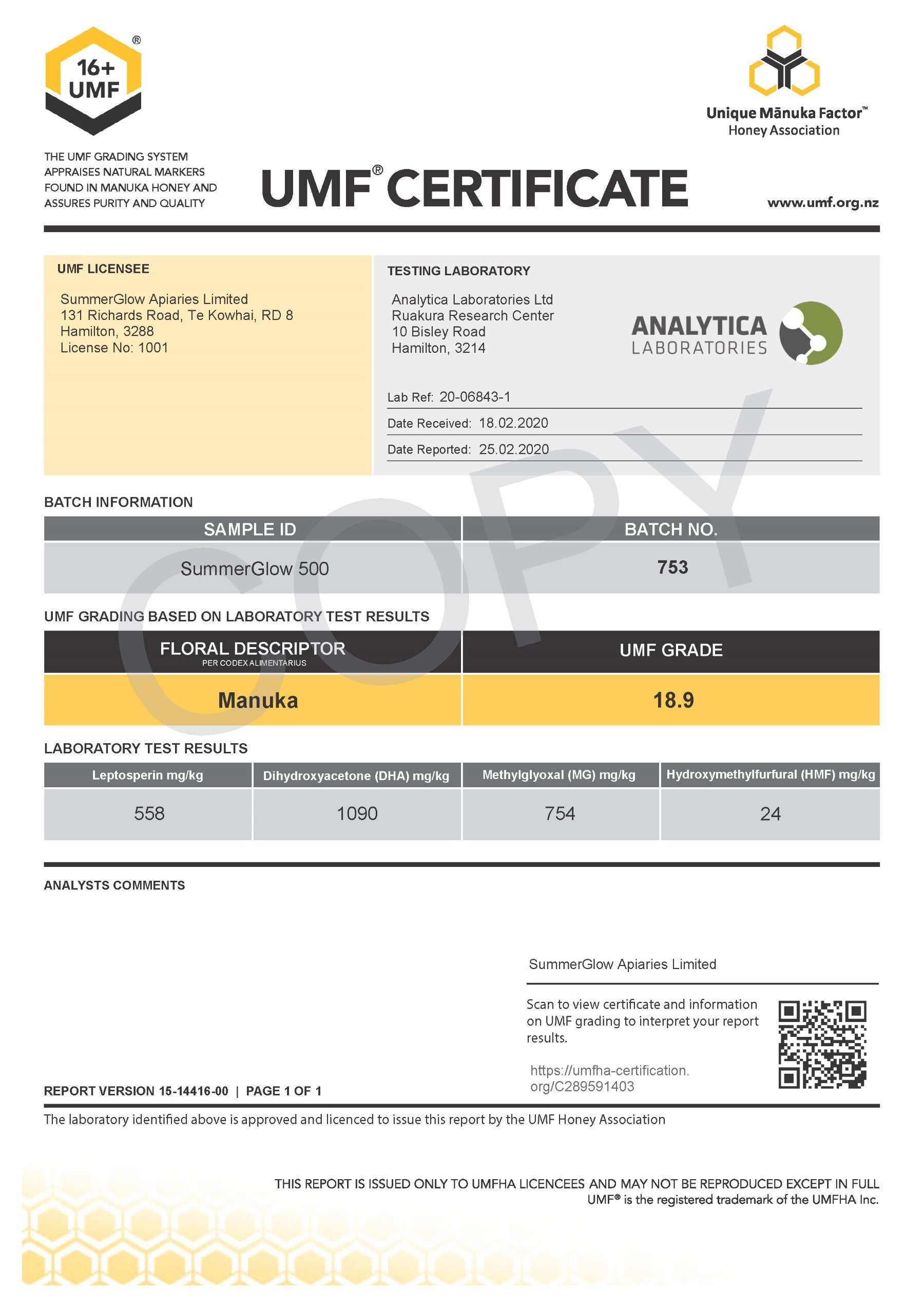 Official 16+UMF® Certificate Verifies SummerGlow Authenticity