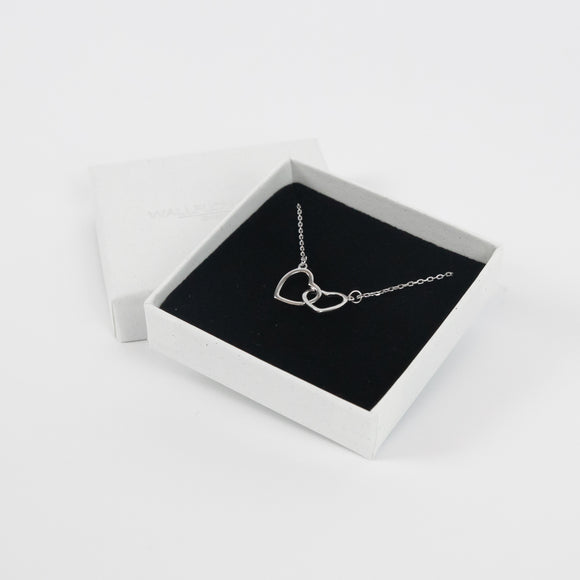 Interlocking Heart Necklace - Silver