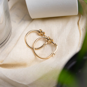 Ebony Knot Hoops - Gold