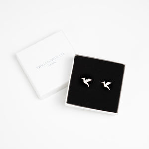 Hummingbird Stud Earrings - Silver