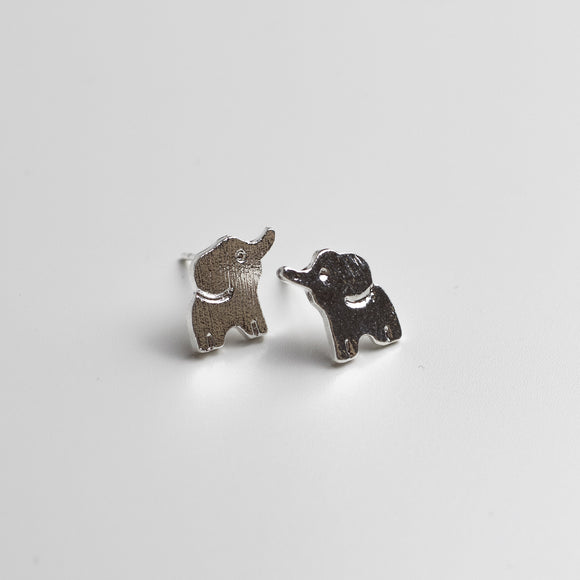 Elephant Stud Earrings - Sterling Silver