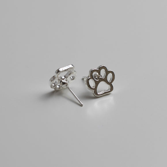 Hollow Paw Print Stud Earrings - Sterling Silver