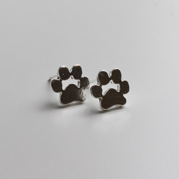 Paw Print Stud Earrings - Sterling Silver
