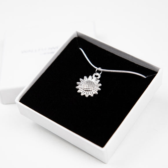 Sunflower Necklace - Silver