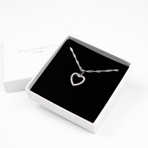 Heart Pendant Necklace - Sterling Silver