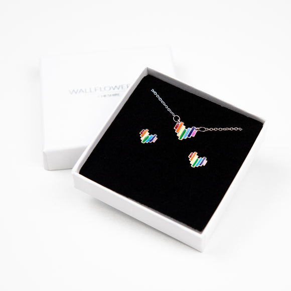 Rainbow Heart Gift Set - Silver