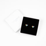 Rainbow Heart Stud Earrings - Silver