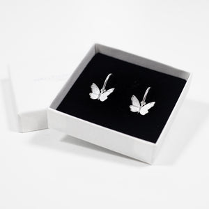 Butterfly Hoop Earrings - Silver