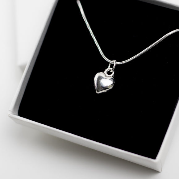 Heart Charm Necklace - Sterling Silver