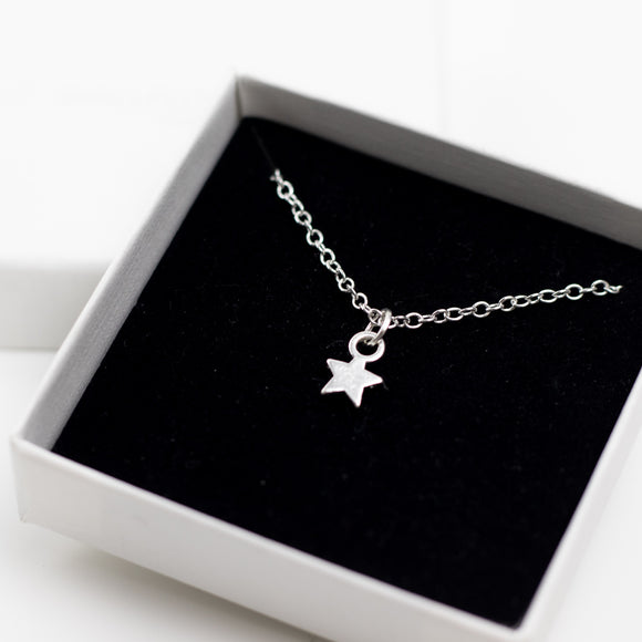 Star Charm Necklace on Rolo Chain- Sterling Silver