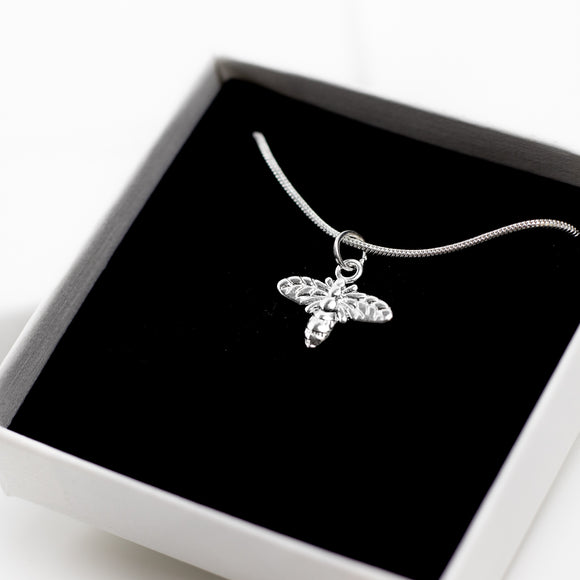 Bee Charm Necklace - Sterling Silver