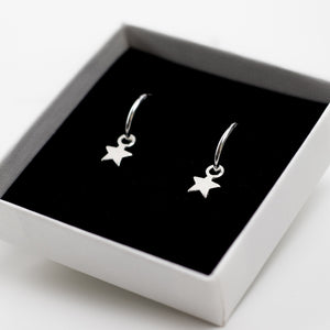 Star Hoop Earrings - Sterling Silver