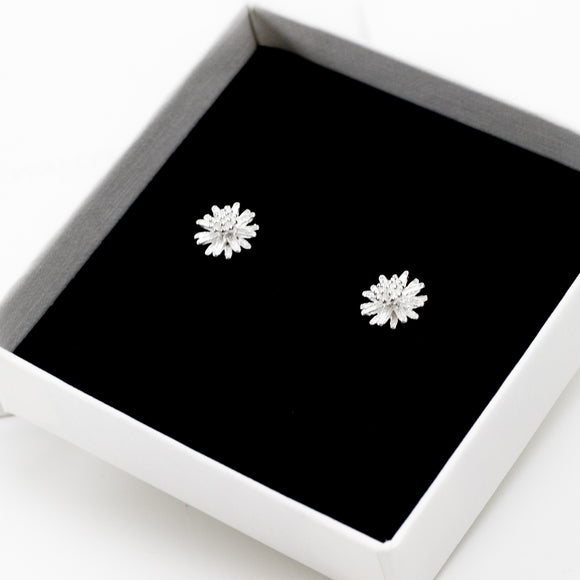 Silver Daisy Stud Earrings - Sterling Silver