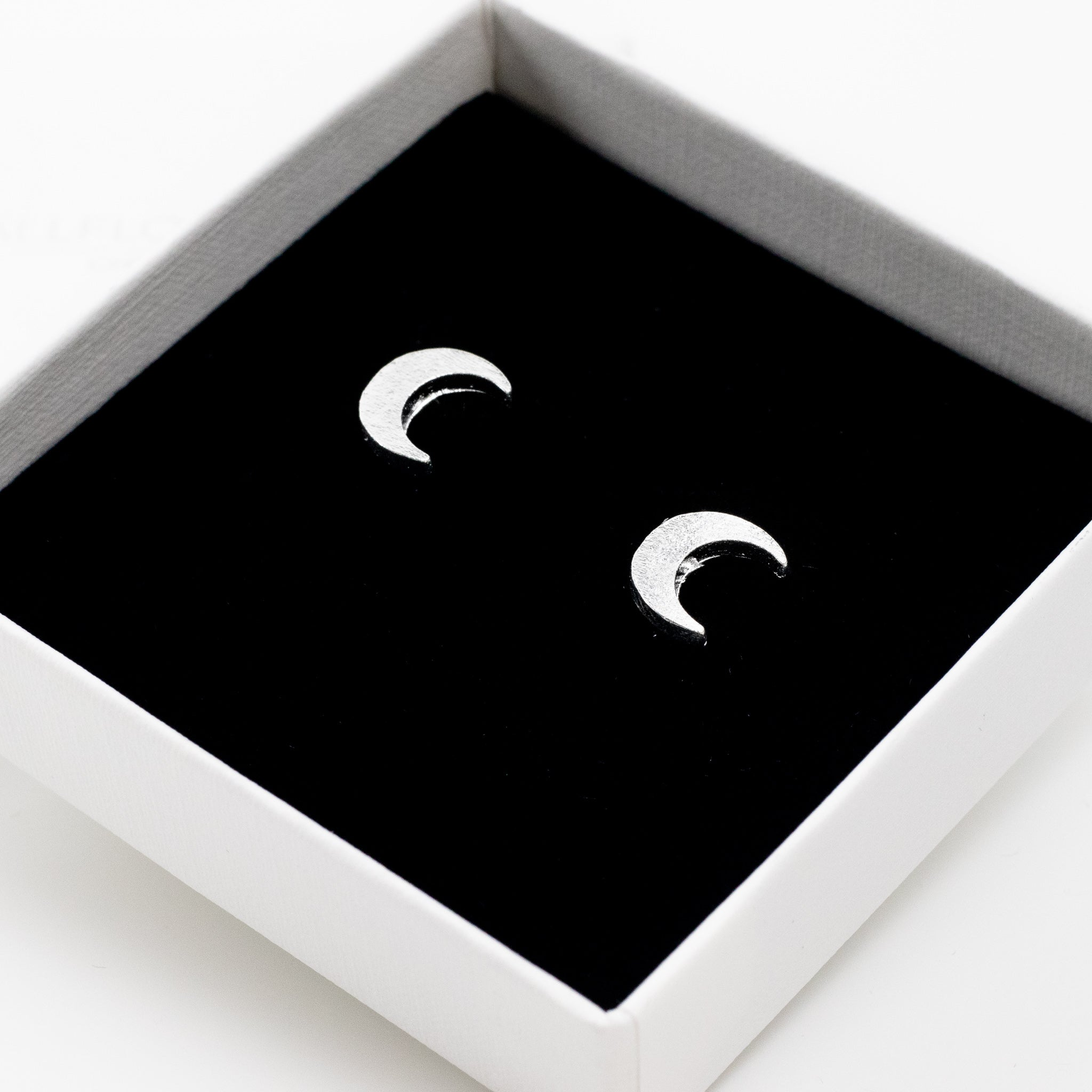 Moon Crescent Stud Earrings - Silver