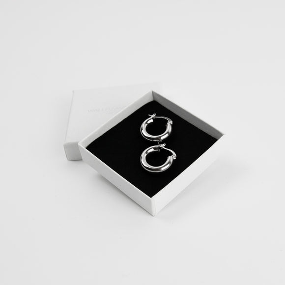 Small Chunky Silver Hoops - Silver