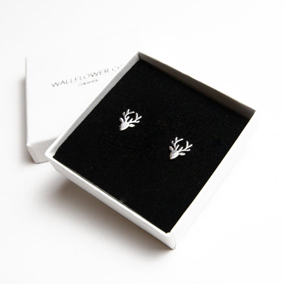Reindeer Stud Earrings - Silver
