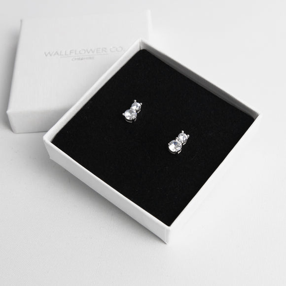 Glitzy Drop Stud Earrings - Sterling silver
