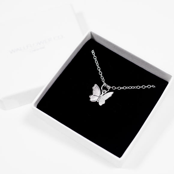 Butterfly Charm Necklace on Rolo Chain - Silver