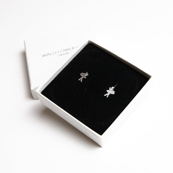 Ballerina Stud Earrings - Sterling silver