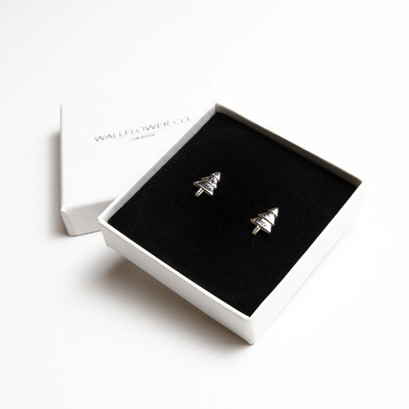 Christmas Tree Stud Earrings - Sterling silver